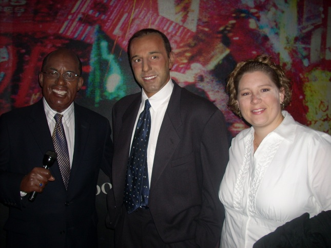 Robin with waxy Al Roker and Matt Lauer at Madame Tussaud's