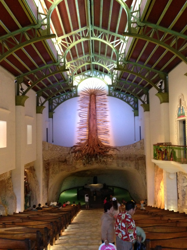 A fascinating Catholic church that incorporates the Mayan tree of life into the decor.